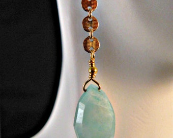 Amazonite Gemstone Earrings, drop earrings, dangle earrings, gold earrings, amazonite earrings, gemstone earrings, amazonite, gemstones