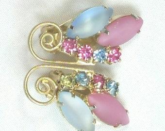 Pink & Blue Rhinestone Juliana Style Clip Earrings Unsigned