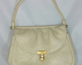Small Creme Pebble Leather Handbag Signed Zenith Handmade