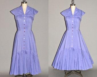 50s Dress, Suzy Perette 1950s New Look Dress, Purple Cotton Rockabilly Dress, Small