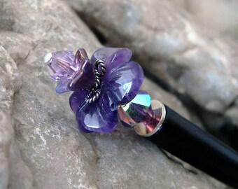 Purple Flower Hair Stick - Amethyst Gemstone with Swarovski Crystals and Sterling Silver Nature Hair Accessories Floral Hairstick - Melantha