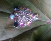 Pink Swirl Bindi, re-useable bellydance / festival forehead gem, silver and pink