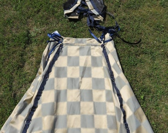 """Blue and cream plaid hitcher skirt 34"""" to 56"""" waist  31"""" long steampunk (final image with a Turkish vest option)"""
