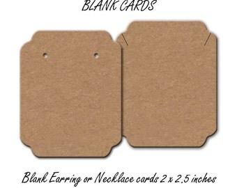 Earring Cards Blank - Blank Jewelry Cards -  Earring Cards - Blank Cards -  Necklace Cards -  Tags Bracelet Cards