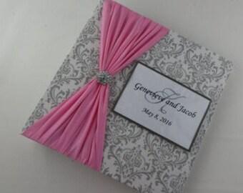 Wedding Photo Album, Damask Engagement Album, Bridal Shower Album, 4x6 picture album 5x7, Gray Damask With Pink, Wedding Gift