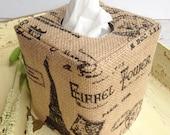 Paris Theme Burlap natural tissue box cover