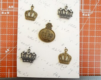 Set of five Crown Charms  Vintage Style Copper
