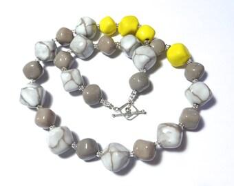 Ceramic Jewelry, Kazuri Bead Necklace,  Chunky Necklace, Grey White and Yellow