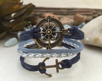 Compass and Anchor Cord Bracelet. Best Friend Gift, Cord Bracelet, Handmade Bracelet, Friendship Bracelet