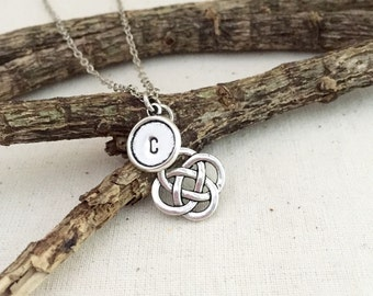 ON SALE - Celtic Necklace, Initial Necklace, Hand Stamped Necklace, Best friend Gift, Gift Ideas, Bridesmaid Necklace