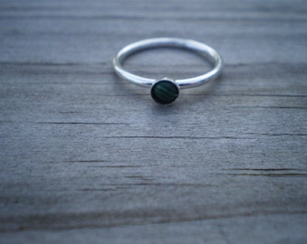 Malachite Stacking Ring, Sterling Silver, Size 7