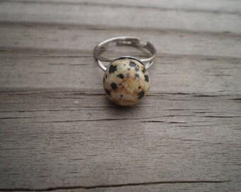 Dalmatian Jasper Sphere Adjustable Ring
