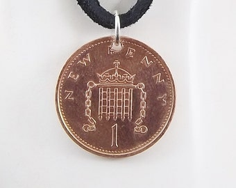 England Coin Necklace, 1 New Penny, Leather Cord, Coin Pendant, Mens Necklace, Womens Necklace, 1980
