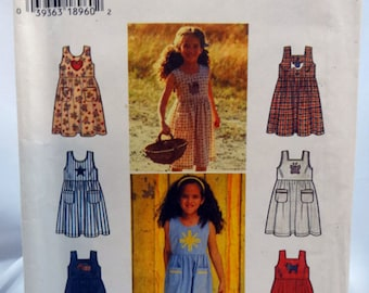 Simplicity 7155, Girl's Sundress or Jumper Pattern, Sewing Pattern, Size 5, 6, 7, 8, Uncut