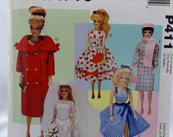 """McCall's P411, McCall's 9664, Doll Clothes Sewing Pattern, Fashion Doll Clothes fit most 11-1/2"""" Dolls, Uncut"""