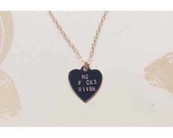 NO F.CKS GIVEN Heart Charm Necklace