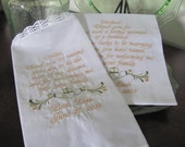 Personalized Mother and Father of the Groom Claddagh machine embroidered wedding handkerchiefs by Sweet Sewing Jeans