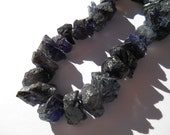 Gemstone Bead, Iolite, Raw Beads, Center Drilled Half strand, Raw  Beads,16x9mm