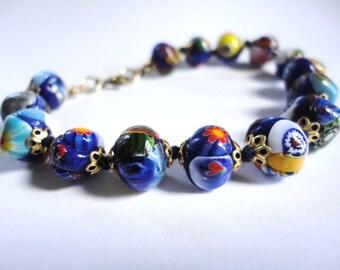Vintage Italian Art Glass Beaded Bracelet