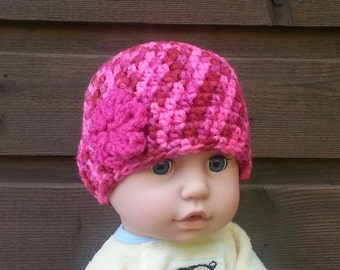girls crochet hat, baby girl beanie, flower beanie, hats for girls, flower beanie, pink flower, size 6 to 12 weeks, vegan friendly, 5449