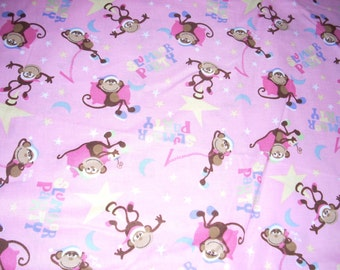 """Slumber Party - sleepy monkeys on pink -  Cotton fabric -  43"""" wide - sold by the yard"""
