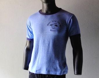 Vintage 1970s Ringer Tee - Bennett Spring State Park Missouri - Blue Cotton Nicely Worn Soft Vintage Perfection - Men's M L