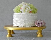 "Gold Cake Stand 14"" Round Gold Cupcake Gold Cake Topper Vintage Wedding Event Decor E. Isabella Designs Featured In Martha Stewart Weddings"
