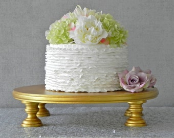"Gold Cake Stand 16"" Wedding Cake Stand Cupcake Gold Cake Topper Vintage Wedding Decor E. Isabella Designs Featured In Martha Stewart Wedding"