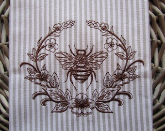 Tea Towel - Laurel and Napoleonic Bee - Whim - Earl Grey Stripe