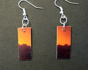 Recycled Earrings Mountains Sunset Upcycled Credit Card