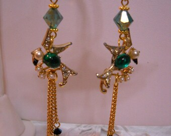 Jelly Belly Bird Dangle Pierced Earrings Repurposed Vintage Rhinestones Pearls FREE SHIPPING Assemblage Upcycled