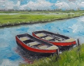 Boat Canal Painting - Dutch River Painting - Original Oil Painting - Dutch Canal Landscape -Dutch Boats Painting - Netherlands Boat Painting