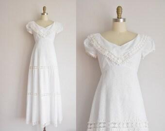 vintage 1960s dress / white cotton eyelet wedding dress / 60s wedding dress