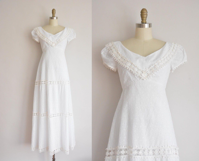 Cotton Wedding Gown: Vintage 1960s Dress / White Cotton Eyelet Wedding Dress / 60s
