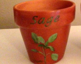 Herb Pot 4 Inch Red Clay Terracotta Hand Painted Sage Made to Order