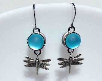 Magical and musical: Aquamarine Nebula Dragonfly earrings