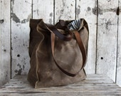 Marlowe Carryall in Truffle, Waxed Canvas Tote, Waxed Canvas Bag, Shoulder Bag, Market Tote, Waxed Canvas Carryall, Leather, For Him For Her