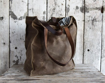 Waxed Canvas Marlowe Carryall in Truffle, Tote, Waxed Canvas Bag, Shoulder Bag, Market Tote, Waxed Canvas Carryall, Leather, For Him For Her
