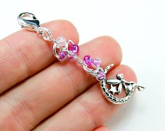 Fairy Charm. Beaded Faery Charm. Custom Keychain with Moonshine Fairy.BRC011