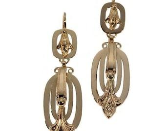 Victorian earrings - Antique 18K rose gold drop earrings