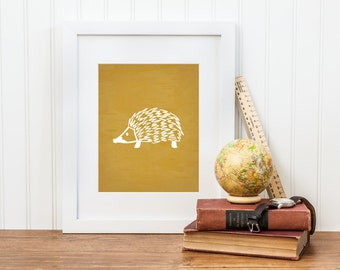 Hedgehog Woodland Animal Print - Digital Download - Forest Nursery or Woodland Nursery Decor
