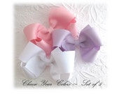 Boutique Bows ~ You Pick Colors, Set of 5 Basic Baby Hair Bows, Toddler Bow Hair Clips, Large Bows, Hair Bow Clips, Girls Hair Accessories
