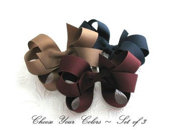 School Uniform Hair Bows, Pick Your Colors, Boutique Hair Bows for Girls, Large Hair Bows, Set of Girls Hair Bows