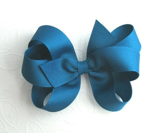 Teal Hair Bow ~ Peacock Blue Boutique Hair Bow, Girls School Hair Accessories, Thanksgiving Bows, Toddler Bows, 6 Loop Large Bow for Girls