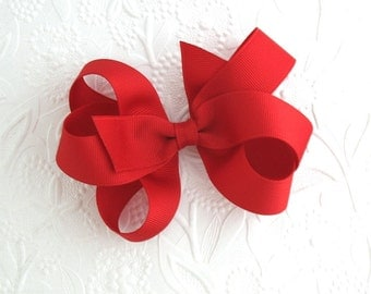 Red Boutique Hair Bow for Girls, Christmas Hair Bow, Toddler Hair Bows, Large Red Christmas Bow