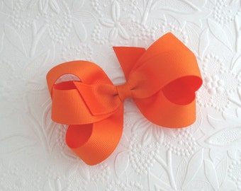 Orange Hair Bow, Halloween Hair Bow, Orange Boutique Bow, Toddler Bows