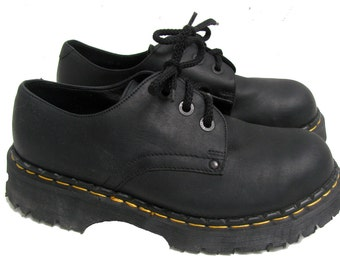 Dr Martens Shoes From England Vintage Mens Black Leather Steel Toe Doc Martens DMs Gibson Shoes Mns US Size 8