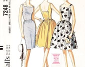 SZ 12/Bust 32 - Vintage 1960s Dress Pattern McCall's 7248 - Misses' Sleeveless, Back Wrapped Dress in Two Variations