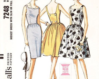 Misses' Sleeveless, Back Wrapped Dress in Two Variations - SZ 12/Bust 32 - Vintage 1960s Dress Pattern - McCall's 7248