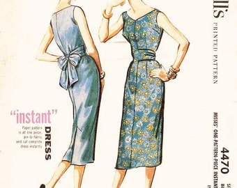 """Misses' Sleeveless Sheath Dress with Wrapped Back Sash - """"Instant Dress"""" - SZ 14/Bust 34 - Vintage 1950s Dress Pattern - McCall's 4470"""